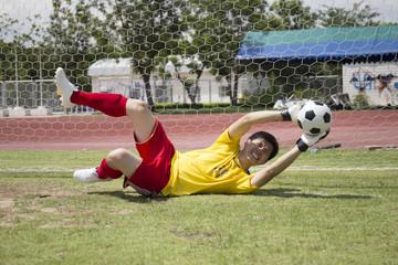 Goalkeeper catches the soccer ball