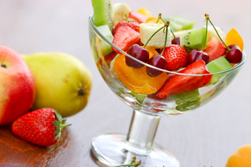 Fruit salad of organic fruit