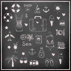 Vector set of chalk board travel vacation items