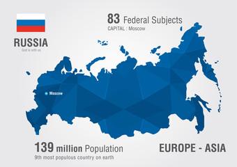 Russia world map with a pixel diamond pattern.