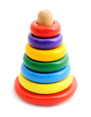 Old toy pyramid with colored rings
