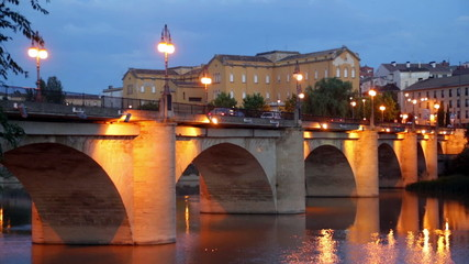 Puente da Piedra over Ebro  in evening. Logrono