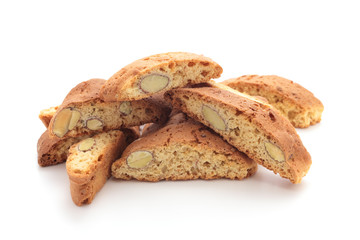 Cantuccini alla mandorla, italian cookies, on white background