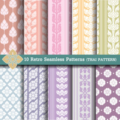 10 Retro Seamless Patterns (thai pattern)