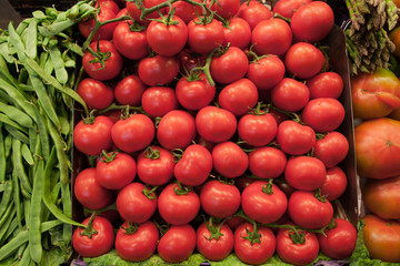 Ripe Tomatoes in a Grocery Store