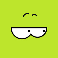 Vector cartoon eyes. Yellow-green. Eps10