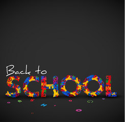 Back to school vector illustration made from letters