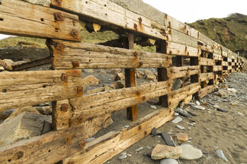 Aberiddy Beach, remains of sea defences.