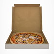 Pizza in open box isolated