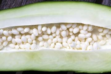 Inside of a green papaya