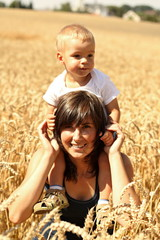 Mother and son in grain