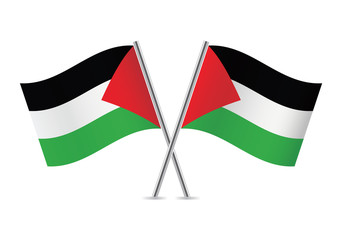 Palestinian flags. Vector illustration.