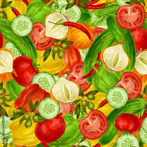 canvas print picture Vegetables seamless background