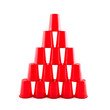 Empty Plastic red cups pyramid - 67439651