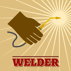 Welder retro poster
