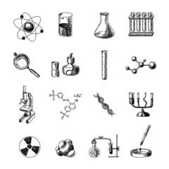 Chemistry icons set