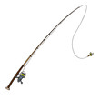 Fishing rod with fly bait. Vector illustration. Isolated on - 67440618