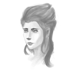 Hand-drawn woman portrait. Pancil sketch imitation in vector.