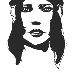 Black and white hand-drawn woman portrait. Ink painting