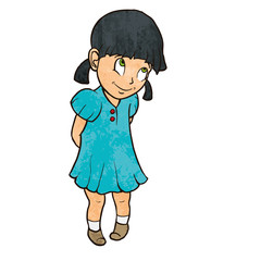 Cute shy cheerful little girl in blue dress. Cartoon
