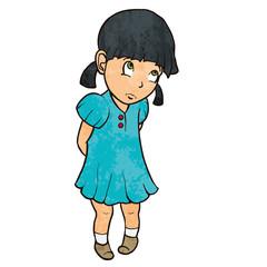 Cute sad guilty little girl in blue dress. Cartoon illustration