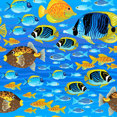 Bright seamless pattern with sea fish. Marine life.