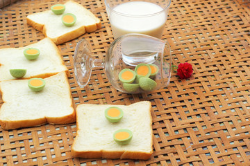 fresh milk and bread plate with chocolate green.