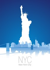 New York City blue white background vector