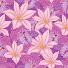 . lilac seamless background with pink and lilac orchids