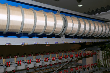 Old silk machines in Chinese factory, Beijing, China