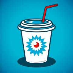 Vector milkshake in a paper cup