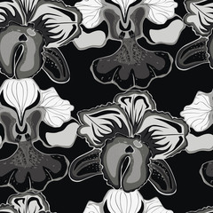 Seamless black background with gray orchids.