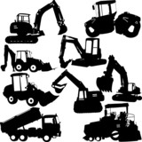 excavator silhouette collection - vector - 67441801