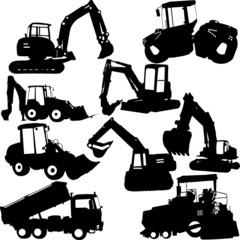 excavator silhouette collection - vector