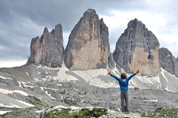 Boy at Three Peaks in Italy