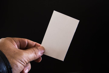 Blank paper in the hands of men