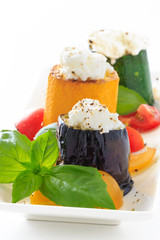 Grilled eggplant, zucchini with cottage cheese with basil