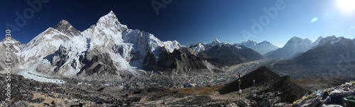 Mount Everest, Lhotse i Nuptse z Kala Patthar - panorama