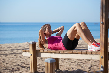 Workout outdoors, fitness and healthy lifestyle concept