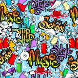 Graffiti characters seamless pattern - 67443081