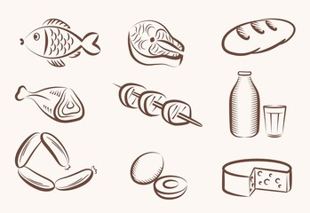 food vector hand drawn icons