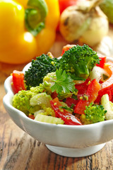 homemade vegetable salad with couscous
