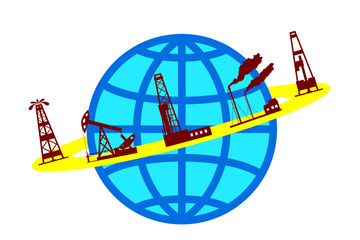 Globe and silhouettes of oil industry.