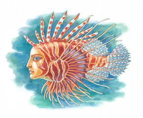 Акварельная иллюстрация. Фантастическая рыба.