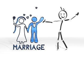 stick man presents marriage sign