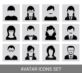 Black avatar icon set