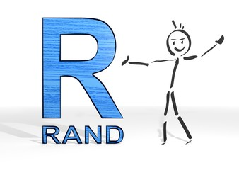 stick man presents South Africa Rand sign