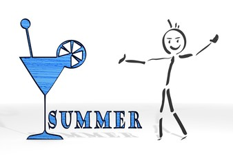 stick man presents summer sign