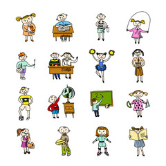 Set of doodle children
