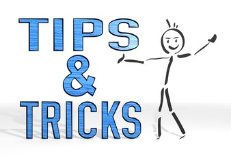 stick man presents tips sign